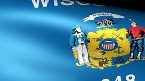 Wisconsin Sate Flag Waving. Video footage stock footage