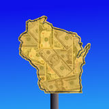 Wisconsin sign with dollars Royalty Free Stock Photography