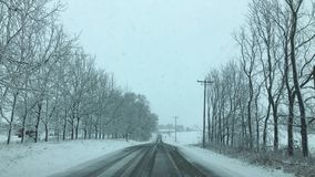 Wisconsin snow covered road stock photo