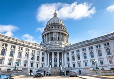 Wisconsin State Capital Building. Wide angle exterior of the WI State capital building Stock Image