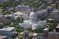 Wisconsin state capitol building. Aerial view of state capitol building in Madison Wisconsin in summer Royalty Free Stock Images