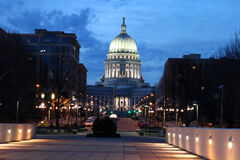 Wisconsin State Capitol building. National Historic Landmark. Madison, Wisconsin, USA. Night scene with official buildings and street holiday decorative royalty free stock photos