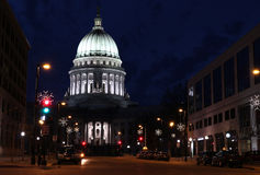 Wisconsin State Capitol building. National Historic Landmark. Madison, Wisconsin, USA. Night scene with official buildings and street holiday decorative royalty free stock photo