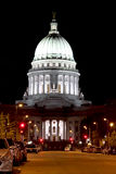 Wisconsin State Capitol building. National Historic Landmark. Madison, Wisconsin, USA. Night scene, vertical composition royalty free stock images