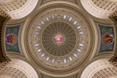 Wisconsin State Capitol inner dome ceiling. Inner dome from the rotunda floor of the Wisconsin State Capitol in Madison, Wisconsin royalty free stock photo