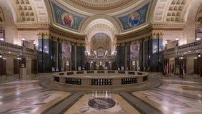 Wisconsin State Capitol rotunda. Panoramic view of an empty rotunda of the Wisconsin State Capitol in Madison, Wisconsin royalty free stock photo