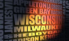 Wisconsin state cities list stock image