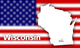 Wisconsin state contour royalty free stock photos