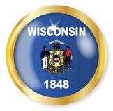 Wisconsin Flag Button. Wisconsin state flag button with a gold metal circular border over a white background Royalty Free Stock Image