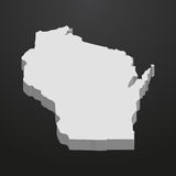 Wisconsin State map in gray on a black background 3d Royalty Free Stock Images