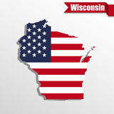 Wisconsin State map with US flag inside and ribbon Royalty Free Stock Images
