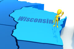 Wisconsin state outline with yellow stick figure Royalty Free Stock Image