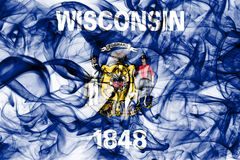 Wisconsin state smoke flag, United States Of America.  royalty free stock photography