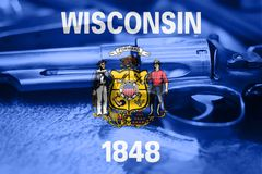 Wisconsin U.S. state flag Gun Control USA. United States. Gun Laws Stock Photos