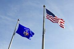 Wisconsin-und USA-Markierungsfahnen Lizenzfreies Stockbild