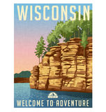 Wisconsin, United States travel poster. Vector illustration of sandstone cliffs overlooking the Wisconsin River Stock Photos