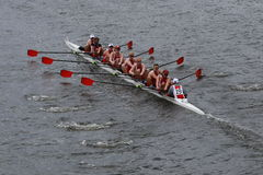 Wisconsin University races in the Head of Charles Regatta Royalty Free Stock Photo