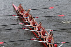 Wisconsin University races in the Head of Charles Regatta Women's Championship Eights Royalty Free Stock Images