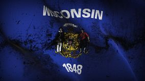 Wisconsin US State grunge dirty flag waving on wind. royalty free stock photography