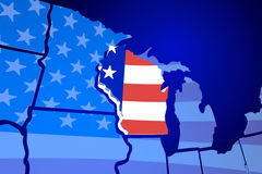 Wisconsin USA Flag United States America Map Stock Photos