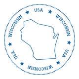 Wisconsin vector map sticker. Stock Photos
