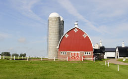 Wisconsin vintage dairy farm. Vintage Wisconsin dairy farm with traditional red barn and silo's stock photo