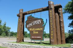 Wisconsin Welcome Sign. Welcome sign at entrance to State of Wisconsin stock photo