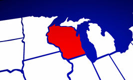 Wisconsin WI State United States of America 3d Animated State Ma Stock Photography