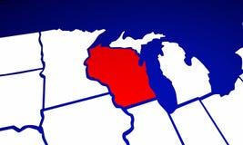Wisconsin WI Twierdzą Stany Zjednoczone Ameryka 3d Animujący stan Ma Fotografia Stock