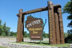 Wisconsin-willkommenes Zeichen Stockfoto
