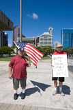 Wisconsin Worker Unions Supporters. Males supporters of Wisconsin worker unions holding sign that says United We Stand, Divided We Beg at a rally at the Hawaii Stock Images