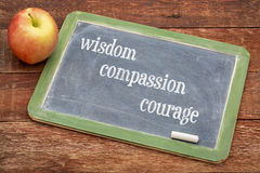 Wisdom, compassion and courage. Universally recognized moral qualities according to Confucius - text on a blackboard stock photo