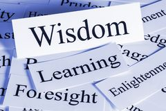 Wisdom Concept in Words. Wisdom Concept - a conceptual look at wisdom, foresight, learning, enlightenment stock photo