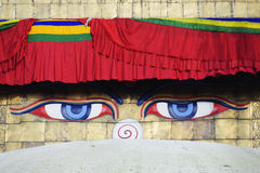 Wisdom eyes, Bodhnath, Nepal Royalty Free Stock Photos