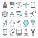 Wisdom and Knowledge Flat Line Icon Set. Abstract vector set of line color icons for wisdom and knowledge. Modern style illustrations and design elements for Stock Images