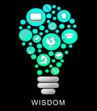 Wisdom Lightbulb Indicates Power Source And Glowing Royalty Free Stock Images