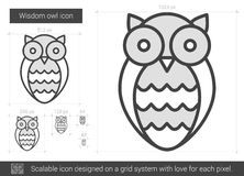 Wisdom owl line icon. Wisdom owl vector line icon isolated on white background. Wisdom owl line icon for infographic, website or app. Scalable icon designed on Stock Image
