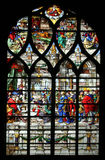 Wisdom of Solomon: Judgement of Solomon. Stained glass, Church of St. Gervais and St. Protais, Paris stock photo