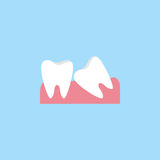 Wisdom teeth flat icon. Wisdom teeth flat  icon, Dental and medicine, vector graphics, a colorful solid pattern on a blue background, eps 10 Royalty Free Stock Image