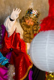 Wise Biblical Magi. BARCELONA - JANUARY 5: Gaspar King in the Big parade of the Biblical Magi Three Kings, who give toys to the children. Is a traditional Stock Photo