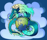 Wise blue east dragon against clouds. Wise blue water east dragon holds in hand the earth against clouds Stock Photography