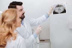 Wise careful dentist showing a scan to his colleague Stock Images
