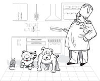 Wise cook. Chef cooks in front are pets stock illustration