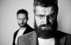 Wise glance. Hipster style and fashion. Hipster eyeglasses. Man handsome bearded hipster wear eyeglasses. Eye health and. Sight. Optics and vision concept royalty free stock photos