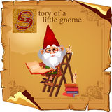 Wise gnome with book and candles. Parchment background Royalty Free Stock Image