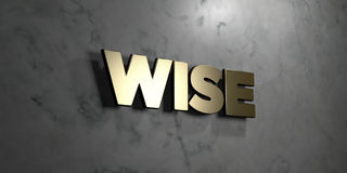 Wise - Gold sign mounted on glossy marble wall - 3D rendered royalty free stock illustration. This image can be used for an online website banner ad or a print stock illustration