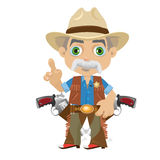 Wise grandpa, cartoon character in Wild West Royalty Free Stock Images