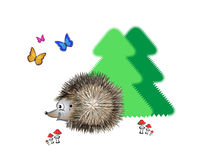 Wise hedgehog. Hedgehog creeps in the forest behind trees and toadstools Stock Image