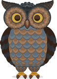Wise Intelligent Standing Owl Front view. Wise Intelligent blue and brown Standing Owl Front view,  illustration Stock Images