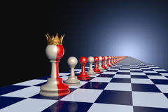 Wise King. Red and gray pawns on a chessboard. Artistic dark blue background Stock Illustration